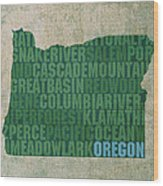 Oregon Word Art State Map On Canvas Wood Print