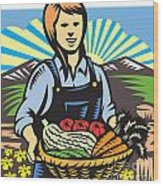 Organic Farmer Farm Produce Harvest Retro Wood Print by Aloysius Patrimonio