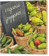 Organic Peppers At Farmers Market Wood Print
