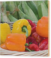 Organic Sweet Bell Peppers Wood Print