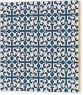 Orient Blue And White Interlude Wood Print