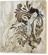 Oriental Beauty Sepia Tone Wood Print