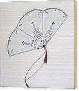 Oriental Fan Wood Print by Christine Corretti