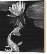 Oriental Koi Fish And Water Lily Flower Black And White Wood Print