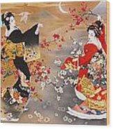 Oriental Triptych Wood Print