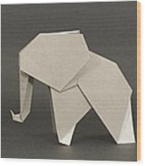 Origami Elephant Wood Print