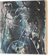 original abstract blue and black painting for sale-Blue Valley Wood Print