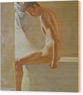 Original Classic Oil Painting Body Man Art- Male Nude In The Bathroom#16-2-3-01 Wood Print