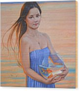 Original Classic Oil Painting Girl Art- Chinese Beautiful Girl And Goldfish Wood Print