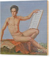 Original Classic Oil Painting Man Body Art Male Nude#16-2-5-43 Wood Print