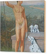 Original Classic Oil Painting Man Body Art-male Nude And Dogs #16-2-4-11 Wood Print