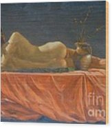 Original Classic Oil Painting Man Body Art-male Nude-038 Wood Print