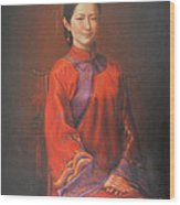 Original Classic Portrait Oil Painting Woman Art - Beautiful Chinese Bride Girl Wood Print