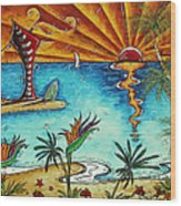 Original Coastal Surfing Whimsical Fun Painting Tropical Serenity By Madart Wood Print