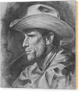 Original Drawing Sketch Charcoal Chalk  Gay Man Portrait Of Cowboy Art Pencil On Paper By Hongtao  Wood Print