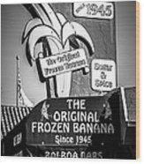 Original Frozen Banana Sign On Balboa Island Picture Wood Print
