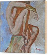 Original Impression Oil Painting Gay Man Body Art Male Nude -189 Wood Print