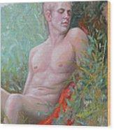 Original Impression Oil Painting Man Body Art Male Nude#16-2-5-50 Wood Print