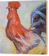 Original Animal Oil Painting - Big Cock#16-2-5-29 Wood Print