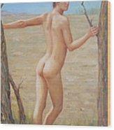 original Oil painting boy art male nude on canvas#16-2-5-07 Wood Print