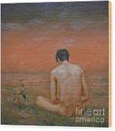 Original Oil Painting Gay Man Art-male Nude#16-2-5-43 Wood Print