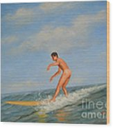 original Oil painting  male nude  man art  in the sea on canvas#16-2-5-01 Wood Print
