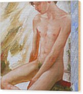 Original Boy Man Body Oil Painting Male Nude Sitting On The Window#16-2-5-28 Wood Print