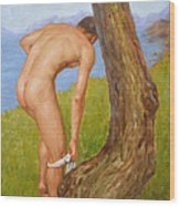 Original Oil Painting Man Body Art Male Nude-029 Wood Print