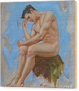 Original Oil Painting Man Body Art - Male Nude -037 Wood Print