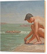 Original Oil Painting Man Body Art Male Nude By The Sea#16-2-5-42 Wood Print