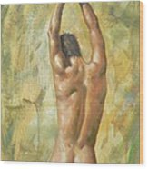 original Oil painting man body art  male nude on canvas #16-2-5-03 Wood Print