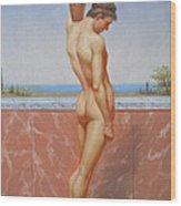 Original Oil Painting Man Body Art Male Nude On Canvas#16-2-5-13 Wood Print