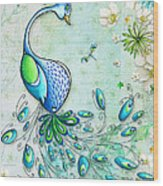 Original Peacock Painting Bird Art By Megan Duncanson Wood Print