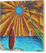 Original Tropical Surfing Whimsical Fun Painting Waiting For The Surf By Madart Wood Print