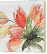 Original Tulips Flowers Wood Print
