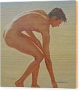 Original  Young Man Body Oil Painting  Gay Art - Male Nude By The Sea-055 Wood Print