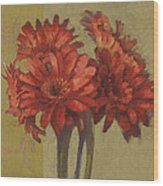 Ornamental Gerbers Wood Print