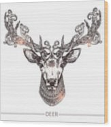 Ornamental Tattoo Deer Head. Highly Wood Print