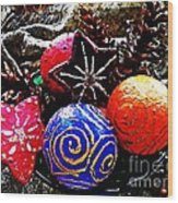 Ornaments 7 Wood Print by Sarah Loft