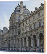 Ornate Architectural Artwork On The Buildings Of The Musee Du Louvre In Paris France Wood Print