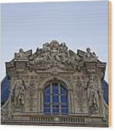 Ornate Architectural Artwork On The Musee Du Louvre Buildings In Paris France  Wood Print