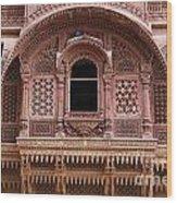 Ornate Balcony At Meherangarh Fort At Jodhpur In India Wood Print