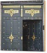 Ornate Door On Champs Elysees In Paris France Wood Print