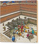 Ornate Fountains With Holy Water From The Bagmati River In Patan Durbar Square In Lalitpur-nepal   Wood Print