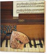 Ornate Mask On Piano Keys Wood Print