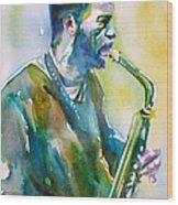 Ornette Coleman - Watercolor Portrait Wood Print