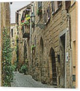 Orvieto Lane Wood Print
