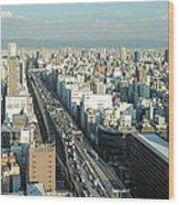 Osaka Cityscape Wood Print