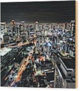 Osaka Night View Wood Print