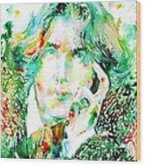 Oscar Wilde Watercolor Portrait.2 Wood Print by Fabrizio Cassetta